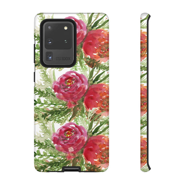 Red Orange Floral Phone Case, Flower Print Tough Designer Phone Case -Made in USA-Phone Case-Printify-Samsung Galaxy S20 Ultra-Glossy-Heidi Kimura Art LLC