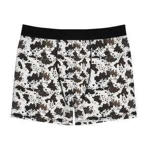 Cow Print Animal Print Men's Boxer Briefs Soft Fleece Lined Underwear-Men's Underwear-L-Black Seams-Heidi Kimura Art LLC