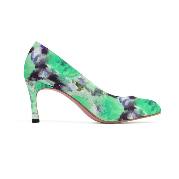 "Turquoise Blue Japanese Ice Rose Queen Floral Print Women's 3"" High Heels-3 inch Heels-Heidi Kimura Art LLC"