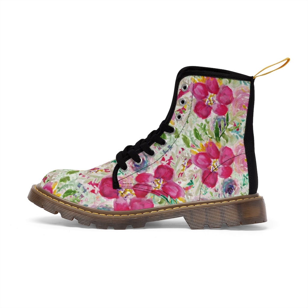 Pink Floral Print Men's Boots, Best Hiking Winter Boots Laced Up Shoes For Men-Shoes-Printify-Brown-US 9-Heidi Kimura Art LLC Pink Floral Men's Canvas Boots, Flower Print Luxury Men's Winter Hiking Canvas Boots, Fashionable Floral Print Anti Heat + Moisture Designer Comfortable Stylish Men's Winter Hiking Boots Shoes For Men (US Size: 7-10.5)