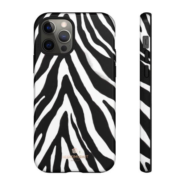 Zebra Stripe Phone Case, Animal Print Tough Designer Phone Case -Made in USA-Phone Case-Printify-iPhone 12 Pro-Glossy-Heidi Kimura Art LLC
