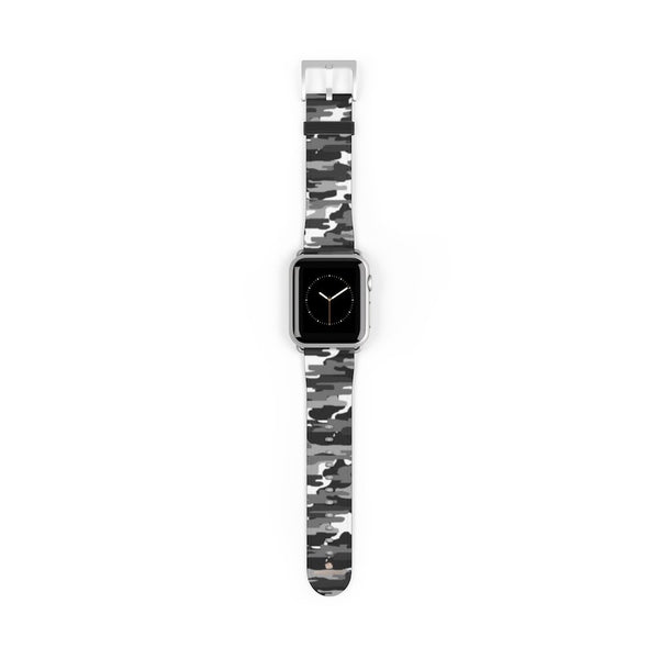 Gray & White Classic Camo Print 38mm/42mm Watch Band For Apple Watch- Made in USA-Watch Band-38 mm-Silver Matte-Heidi Kimura Art LLC
