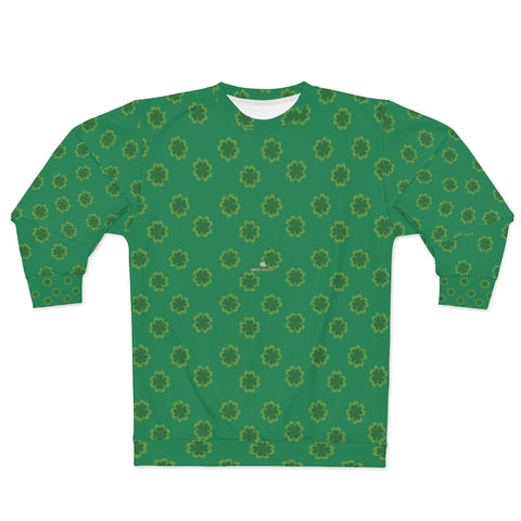 Dark Green St. Patrick's Day Green Clover Print Unisex Couple's Sweatshirt- Made in USA-Unisex Sweatshirt-2XL-Heidi Kimura Art LLC