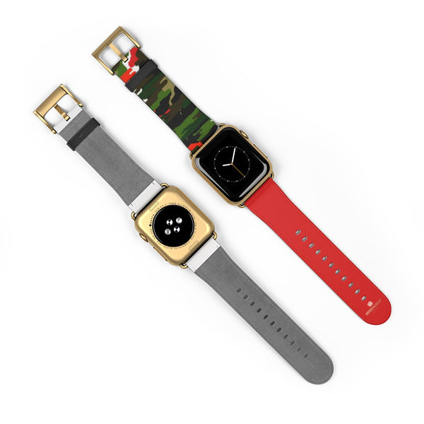 Green & Red Camo Army Print 38mm/42mm Watch Band For Apple Watch- Made in USA-Watch Band-Heidi Kimura Art LLC