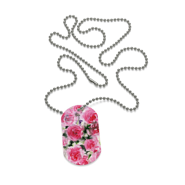 Good Cute Rose Print Pet Accessories Premium Dog Tag Necklace - Made in USA-Dog Tag-One Size-Heidi Kimura Art LLC