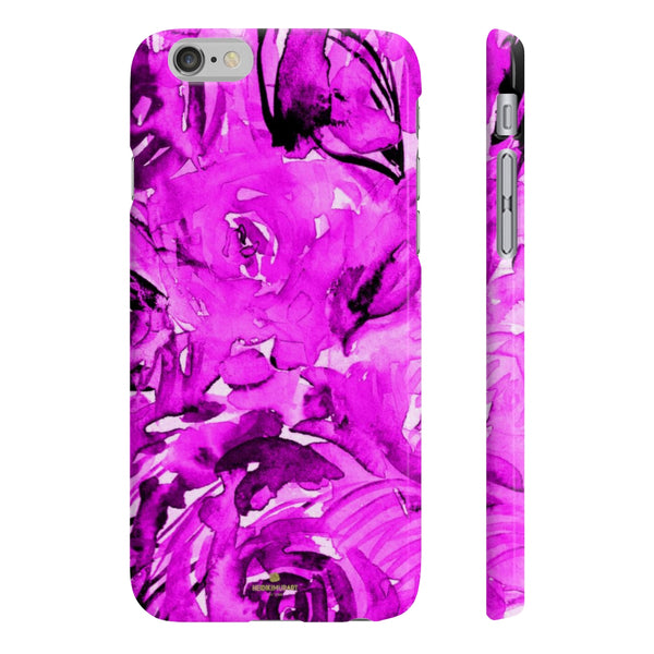 Purple Pink Slim iPhone/ Samsung Galaxy Floral Purple Rose Smart Phone Case, Made in UK-Phone Case-iPhone 6/6S Slim-Glossy-Heidi Kimura Art LLC
