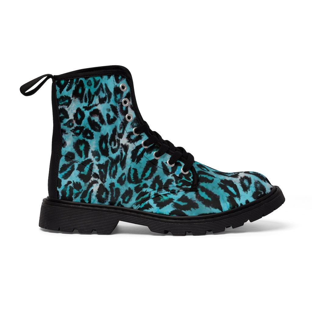 Light Blue Leopard Men's Boots, Best Hiking Winter Boots Laced Up Shoes For Men-Shoes-Printify-Black-US 9-Heidi Kimura Art LLC Light Blue Leopard Men's Boots, Best Luxury Premium Quality Unique Animal Print Designer Men's Lace-Up Winter Boots Men's Shoes (US Size: 7-10.5)