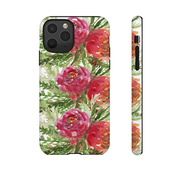 Red Orange Floral Phone Case, Flower Print Tough Designer Phone Case -Made in USA-Phone Case-Printify-iPhone 11 Pro-Matte-Heidi Kimura Art LLC