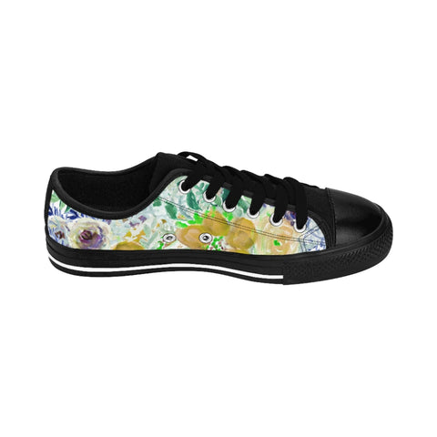 Yellow Floral Men's Sneakers, Garden Flower Print Designer Men's Low Tops, Premium Men's Nylon Canvas Tennis Fashion Sneakers Shoes (US Size: 7-14)