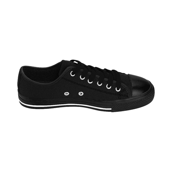 Charcoal Black Classic Solid Color Designer Low Top Women's Sneakers (US Size: 6-12)-Women's Low Top Sneakers-Heidi Kimura Art LLC