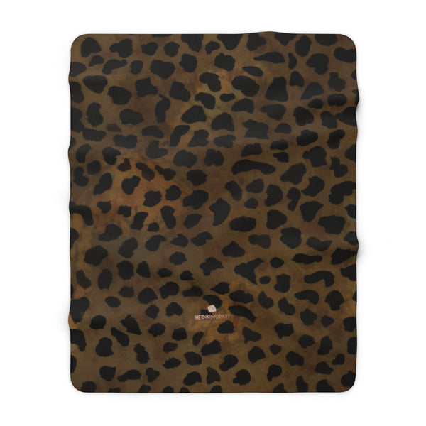"Cheetah Animal Print Blanket, Brown Cheetah Print Cozy Sherpa Fleece Blanket-Made in USA-Blanket-60"" x 80""-Heidi Kimura Art LLC"