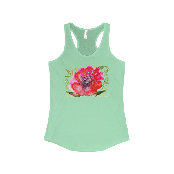 Red Designer Best Floral Women's Ideal Racerback Tank - Made in the USA-Tank Top-Solid Mint-XS-Heidi Kimura Art LLC