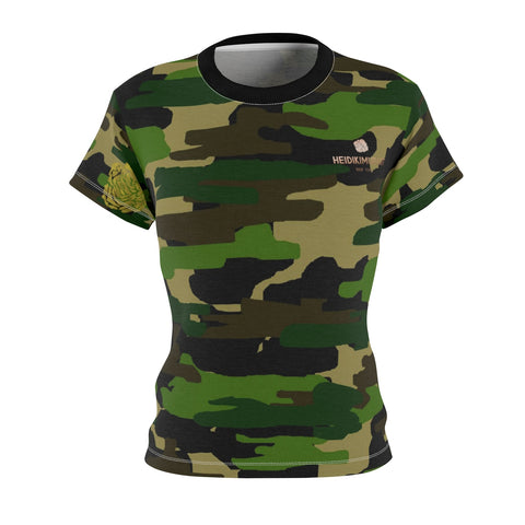 Women's Camouflage Military Army Print Crew Neck Tee - Made in USA (Size XS-2XL)-T-Shirt-4 oz.-White Seams-L-Heidi Kimura Art LLC