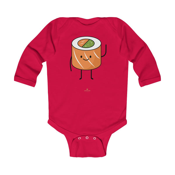 Salmon Sushi Lover Baby Boy or Girls Infant Kids Long Sleeve Bodysuit - Made in USA-Infant Long Sleeve Bodysuit-Red-NB-Heidi Kimura Art LLC