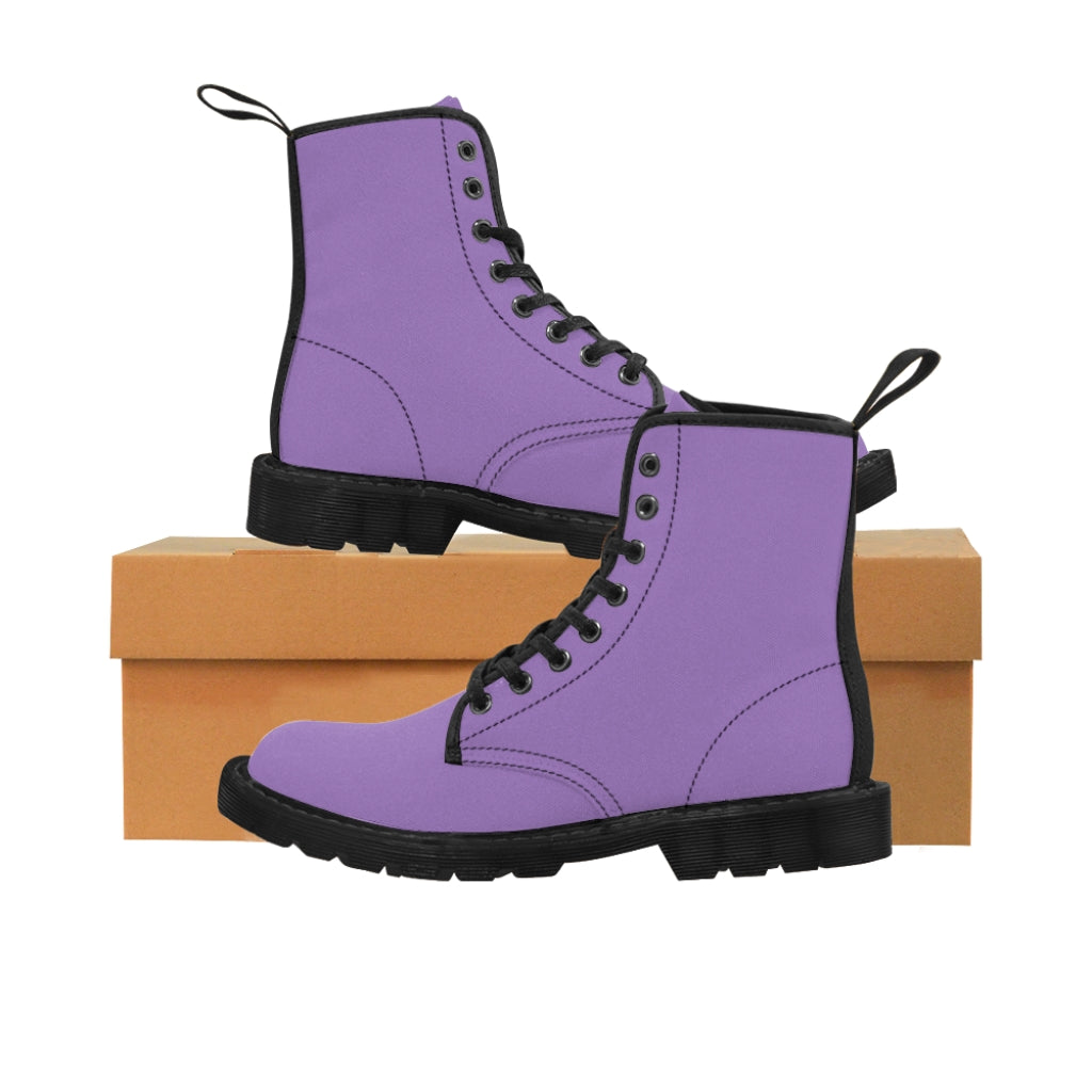 Light Purple Women's Canvas Boots, Solid Color Modern Essential Winter Boots For Ladies-Shoes-Printify-Black-US 9-Heidi Kimura Art LLC Light Purple Women's Canvas Boots, Solid Color Essential Ladies Fashion Lace-Up Hiking Boots, Best Ladies' Combat Boots, Designer Women's Winter Lace-up Toe Cap Hiking Boots Shoes For Women (US Size 6.5-11)