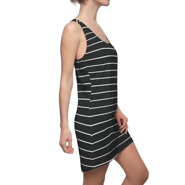 Striped Women's Racerback Dress, Black White Stripes Dress For Ladies - Made in USA-All Over Prints-Printify-Heidi Kimura Art LLC