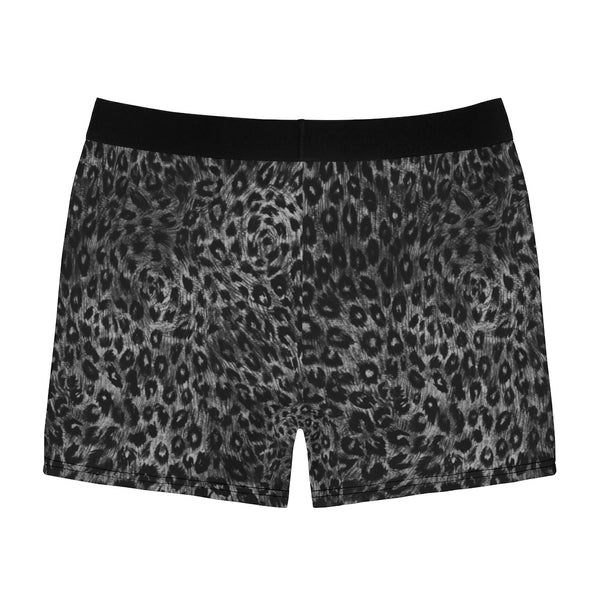 Grey Leopard Men's Boxer Briefs, Animal Print Premium Quality Underwear For Men-All Over Prints-Printify-Heidi Kimura Art LLC