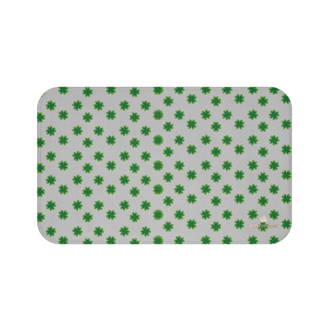 Light Gray Green Clover Print St. Patrick's Day Bathroom Premium Bath Mat- Printed in USA-Bath Mat-Large 34x21-Heidi Kimura Art LLC