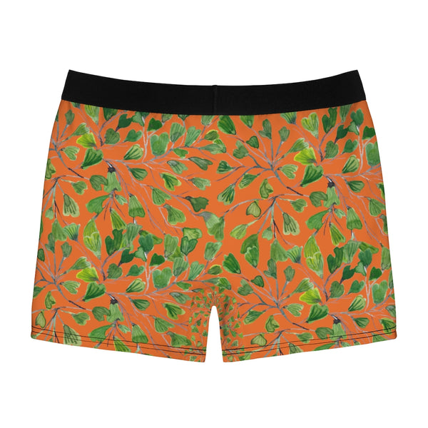 Orange Maidenhair Men's Boxer Briefs, Bright Green Tropical Fern Leaf Print Underwear For Men-All Over Prints-Printify-Heidi Kimura Art LLC