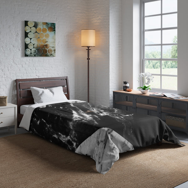 Gray Black White Marble Print Comforter For King/Queen/Full/Twin Bed - Made in USA-Comforter-Heidi Kimura Art LLC