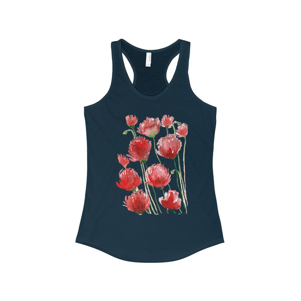 Tadayoshi Red Poppy Flower Floral Print Women's Ideal Racerback Tank - Made in the USA-Tank Top-Solid Midnight Navy-XS-Heidi Kimura Art LLC