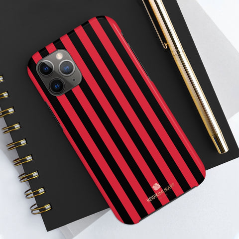 Red Black Stripe iPhone Case, Case Mate Tough Samsung Galaxy Phone Cases-Phone Case-Printify-iPhone 11 Pro-Heidi Kimura Art LLC Red Black Stripe iPhone Case, Modern Stripes Printed Phone Case, Designer Case Mate Tough Phone Cases For iPhones or Samsung Galaxy Devices -Made in USA