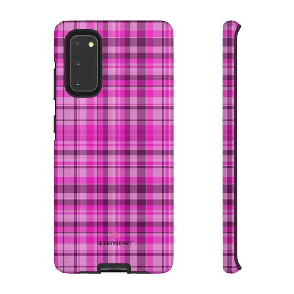 Pink Plaid Print Phone Case, Best Plaid Tartan Print iPhone Samsung Galaxy Case-Made in USA