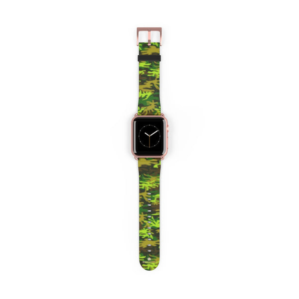 Green Brown Camo Military Print 38mm/42mm Watch Band For Apple Watch- Made in USA-Watch Band-38 mm-Rose Gold Matte-Heidi Kimura Art LLC
