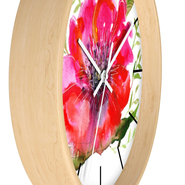 Hinata Hot Pink Hibiscus Floral Print 10 inch Diameter Wall Clock - Made in USA