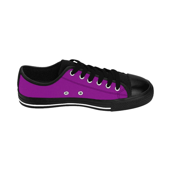 Magenta Purple Solid Color Designer Low Top Women's Sneakers Running Shoes-Women's Low Top Sneakers-Heidi Kimura Art LLC