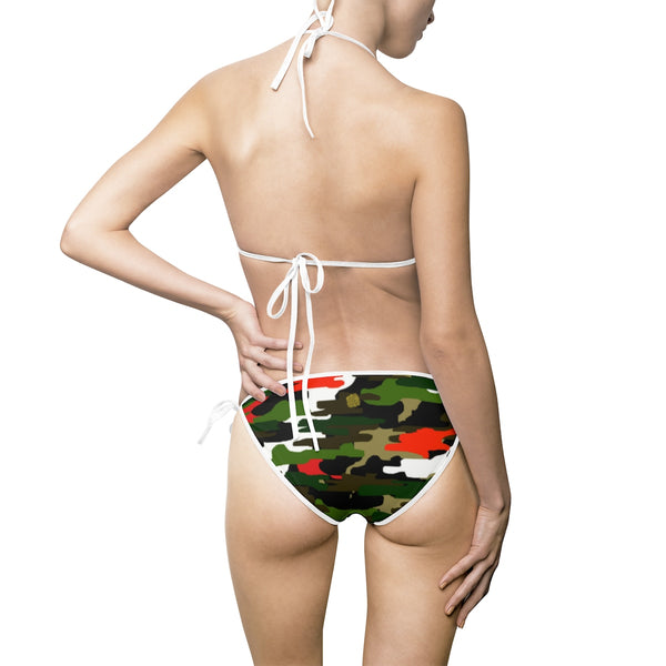 Orange Green Camouflage Camo Military Army Print Women's Bikini Set (US Size: S-5XL)-Bikini-Heidi Kimura Art LLC