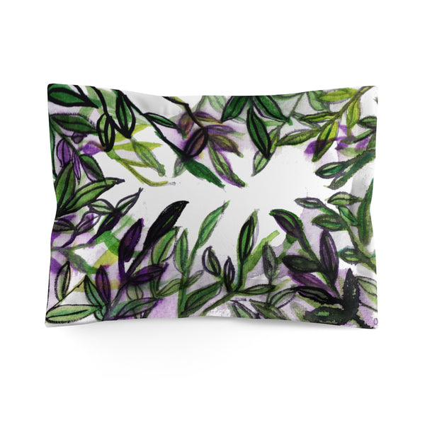 Sparkle Green Tropical Leaves Print Premium Quality Microfiber Pillow Sham Cover - Heidi Kimura Art LLC