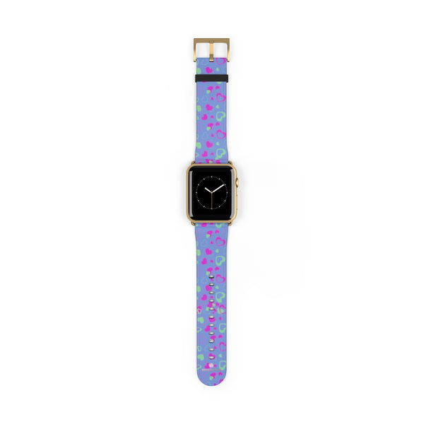 Light Violet Purple Pink Hearts 38mm/42mm Watch Band For Apple Watch- Made in USA-Watch Band-42 mm-Gold Matte-Heidi Kimura Art LLC