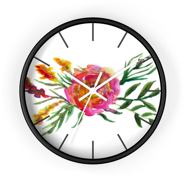 Pink Rose Watercolor Floral Print 10 inch Diameter Flower Wall Clock - Made in USA-Wall Clock-Black-White-Heidi Kimura Art LLC