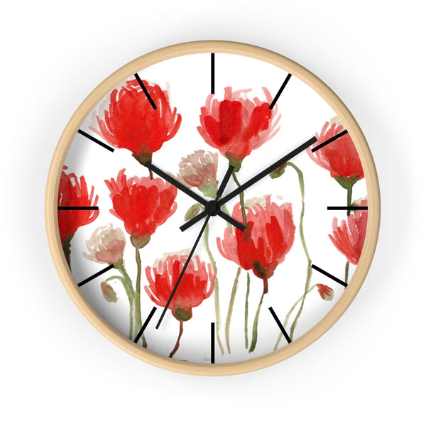 Orange Red Tulips Floral Print 10 inch Diameter Flower Large Wall Clock- Made in USA-Wall Clock-10 in-Wooden-Black-Heidi Kimura Art LLC