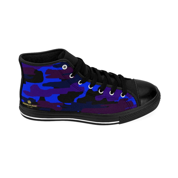 Dark Purple Blue Camouflage Camo Army Military Print Men's High-top Sneakers Shoes-Men's High Top Sneakers-Heidi Kimura Art LLC