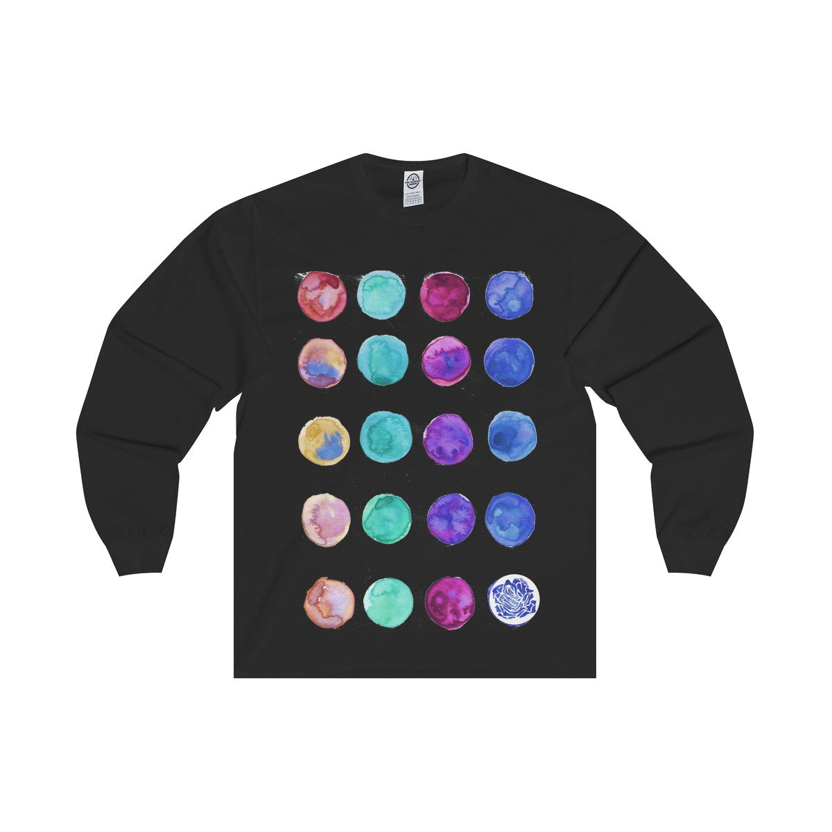 Polka Dots Unisex Designer Premium Long Sleeve Tee - Designed + Made in USA-Long-sleeve-Black-L-Heidi Kimura Art LLC