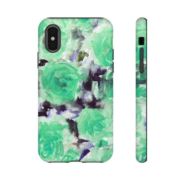 Turquoise Floral Print Tough Cases, Designer Phone Case-Made in USA-Phone Case-Printify-iPhone XS-Glossy-Heidi Kimura Art LLC