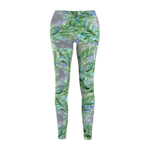Gray French Lavender Floral Print Women's Designer Casual Leggings-Made in USA-Casual Leggings-M-Heidi Kimura Art LLC