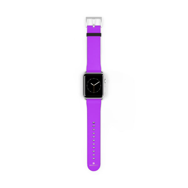 Purple Solid Color Print 38mm/42mm Watch Band For Apple Watches- Made in USA-Watch Band-42 mm-Silver Matte-Heidi Kimura Art LLC