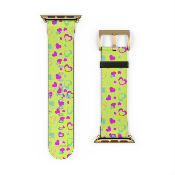 Light Green Pink Hearts Shaped Print Premium 38mm/ 42mm Watch Band- Made in USA-Watch Band-Heidi Kimura Art LLC