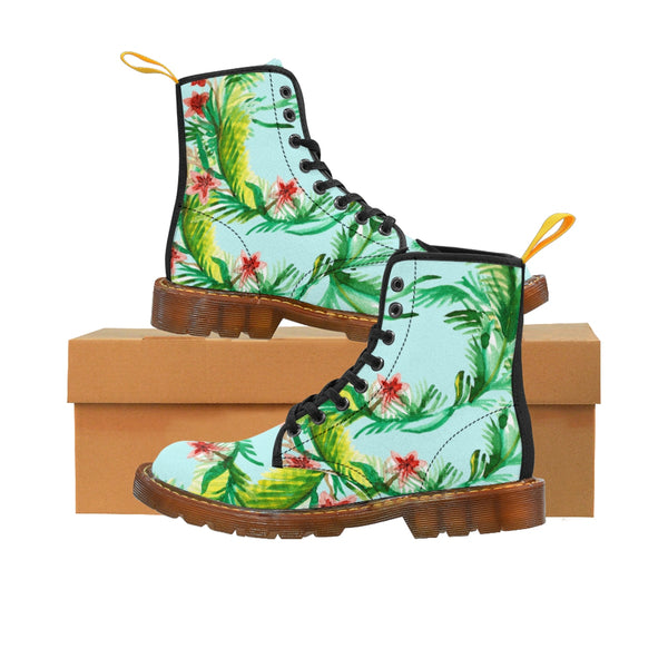 Akie Violet Floral Print Women's Nylon Canvas Winter Boots (US Size: 6.5-11)Lace -up Toe Cap Boots, Boots With Flower, Floral Boots Shoes  Akie Designer Shabby Chic Vintage-Style Light Blue Floral Print Women's Nylon Canvas Winter Boots (US Size: 6.5-11)