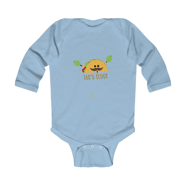 Taco Cute Funny Baby Boy or Girls Infant Kids Long Sleeve Bodysuit - Made in USA-Infant Long Sleeve Bodysuit-Light Blue-NB-Heidi Kimura Art LLC