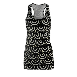 Elegant Black Mermaid Print Premium Women's Long Sleeveless Racerback Dress-Made in USA-Women's Sleeveless Dress-L-Heidi Kimura Art LLC