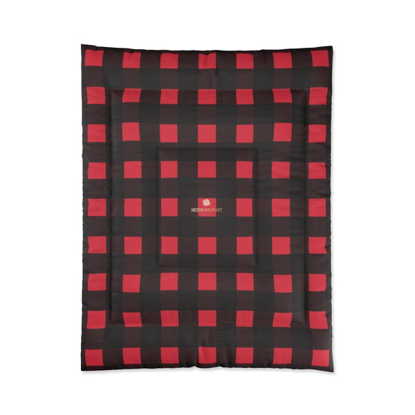 Red Buffalo Plaid Print Best Comforter For King/Queen/Full/Twin Bed - Made in USA-Comforter-68x88 (Twin Size)-Heidi Kimura Art LLC