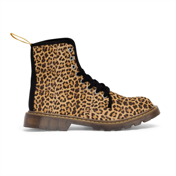 Brown Leopard Men's Canvas Boots, Sexy Animal Print Designer Winter Laced-up Boots For Men-Shoes-Printify-Heidi Kimura Art LLC