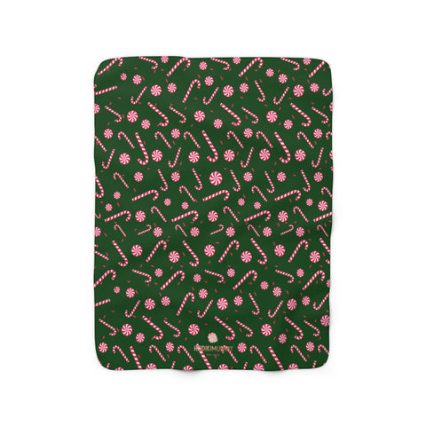 Dark Green White Red Candy Cane Christmas Print Cozy Sherpa Fleece Blanket-Blanket-50'' x 60''-Heidi Kimura Art LLC