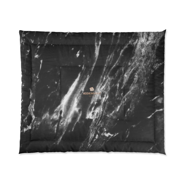 Cool Black White Marble Print Designer Comforter For King/Queen/Full/Twin-Made in USA-Comforter-Heidi Kimura Art LLC