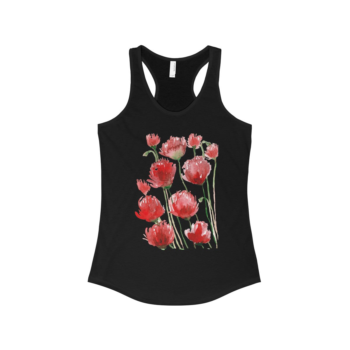 Tadayoshi Red Poppy Flower Floral Print Women's Ideal Racerback Tank - Made in the USA-Tank Top-Solid Black-L-Heidi Kimura Art LLC
