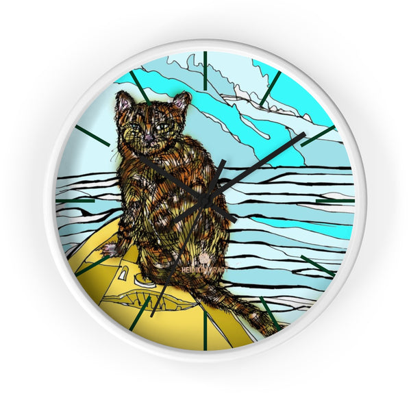 Boat Cat Print Wall Clock, Brown Orange Cat Print 10 in. Dia. Indoor Clock- Made in USA-Wall Clock-10 in-White-Black-Heidi Kimura Art LLC